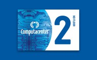 Computacenter blauw 2nd floor bordje met logo en chip patroon